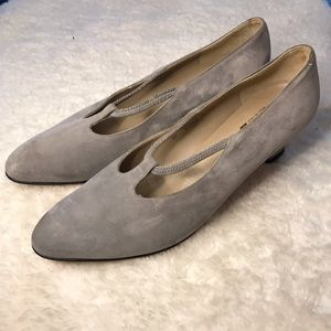 Salvatore Ferragamo Gray Suede MaryJane Pumps 9.5D